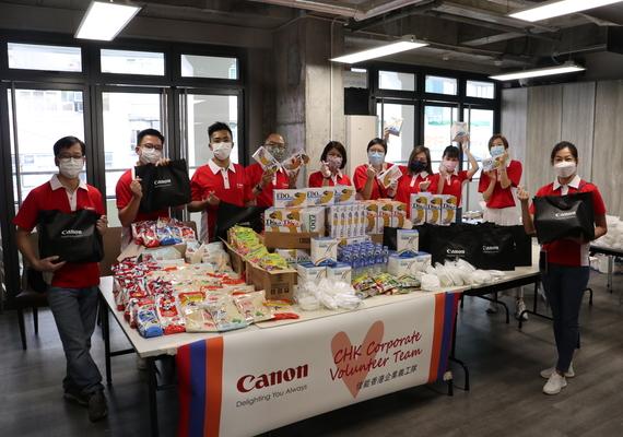 佳能香港企業義工隊為弱勢社群免費派贈愛心飯盒及抗疫福袋